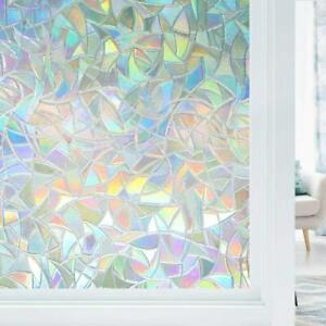 "Rabbitgoo Window Film Stained Glass Rainbow Window Static Clings 17.7""x39.37"""