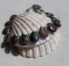 "Brown Bronzite Beaded Gemstone Bracelet ""Truffle"""