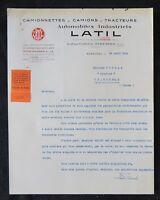 Facture lettre CAMION LATIL 1936 LKV truck automobilia
