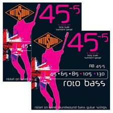2 Sets of Rotosound RB45-5 Roto Standard 5-String Bass Guitar Strings 45-130