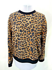 LEOPARD Animal Print Sweatshirt Top Black Brown No Boundaries NOBO Long Sleeve