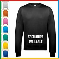 AWDis PLAIN SWEATSHIRT Classic Sweater Jumper Top - Casual Work Leisure Cotton