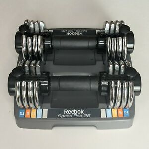 Reebok Speed Pac 25 Adjustable Dumbbell Pair 25 Total Pounds of Weights W/ Base