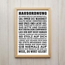 Bild Hausordnung Modern Kunstdruck Poster A4 Familie Liebe Spruch Geschenk
