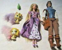 "Disney Tangled Lot ~ Rapunzel & Flynn Rider 12"" Dolls & Rapunzel's Palace Pets"