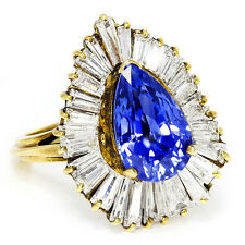 Vintage Certified Pear Sapphire Ballerina Ring with Diamonds in 18K Gold 7.60ctw