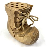 Wood Folk Art Hand Carved Shoe Pencil Holder w/ Leather Laces Office Home Decor