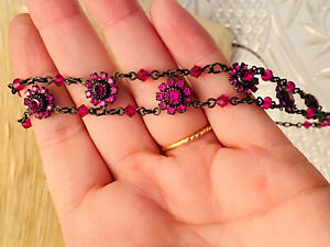 Marianna Fashion Jewelry Choker Necklace Pink Crystal Flower High End