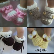 Cutieknits paper knitting pattern (61) to knit 4 styles of baby booties shoes