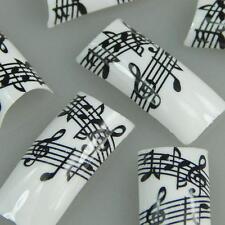 50pcs Black White Musical Notes Fashion Design False French Acrylic Nail Tips