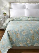 NATURAL SHELLS Twin (single) QUILT : AQUA GREEN TROPICAL BEACH SHELL STARFISH
