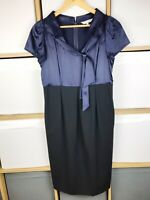 LK Bennet Navy Silk & Black Wool Pencil Dress Size 10 VGC