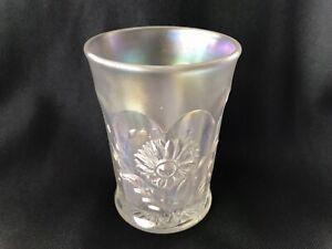 NORTHWOOD WHITE CARNIVAL GLASS DANDELION TUMBLER