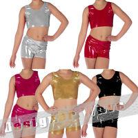 Metallic Girls Dance Wear Vest Shorts Wet Look Shiny Music School Group Comp
