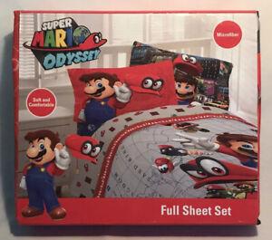 NEW Super Mario Odyssey Franco Kids Bedding Microfiber Sheet Set 4 pc Full Size
