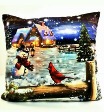 LED THROW PILLOW w/Light  6 Hour Timer Cabin with Snowman & Cardinal 15 x 15