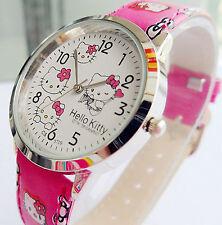 Lady Girl Hello Kitty Print Pink Wrist Watch Christmas Birthday Easter Gift