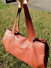 Kisim 'Basic' Large Brick-colored Leather Shoulder Bag