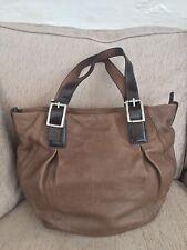 Gianni Conti Italian taupe chocolate brown leather handbag bucket bag large EUC