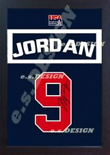Michael Jordan # 9 JERSEY TEAM USA Chicago Bulls NBA in tela firmata 100% incorniciato