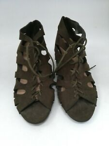 Atmosphere, Khaki, UK 6, Lace up, cut out pattern, wedge heel shoes, Suedey, #HS