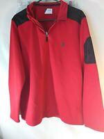 Izod Advantage Mens Sweatshirt Size Large 1/4 Zip Red Long Sleeve Collar Stretch