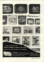 1954 PAPER AD Avalon Paint By Numbers Trays Trash Cans Clown A Tole