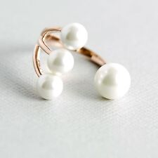 Rose Gold Over Sterling Silver Shell Pearl Open Statement Ring, Adjustable Ring