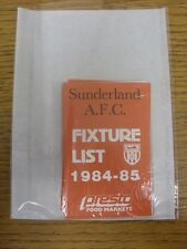 1984/1985 Fixture List: Sunderland - Official Four Page Card . Thanks for viewin