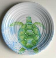"""Sea Turtle Melamine Plates 8.5"""" Set of 4 Salad Dessert Beach Summer House"""