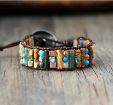 Natural Beaded Wrap Cuff Bracelet, Agate Jade Leather Oblong Turquoise Jasper