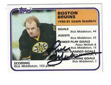 Rick Middleton AUTOGRAPH 1981-82 TOPPS HOCKEY CARD SIGNED BOSTON BRUINS