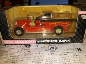 Ertl 1926 Seagrave Fire Truck Bank Grand Detour Illinois John Deere Co 1:30 Scal