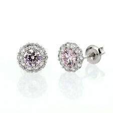 Fine Platinum Plated 925 Silver Pink Cubic Zirconia Halo Womens Stud Earrings