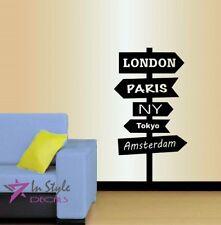 Vinyl Decal Road Sign London Paris NY Tokyo City Travel World Wall Sticker 1472