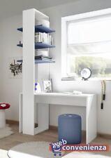 ENJOY Libreria 3 Mensole in Legno Blu e Bianco Opaco