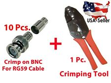 10x Crimp on BNC Male and Professional Coaxial BNC Crimping Tool for RG59 Cables