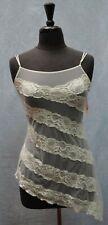NWT Auth VICTORIA'S SECRET White Asymmetric Stripes Sexy Lace Gown Size S $ 48
