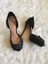 "L.A.M.B. Black Leather Open Toe 4"" Heels Pump Gwen Stefani Size 9"