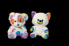 "Build a Bear Buddies Rainbow Kitty Cat White Heart Fluffy Soft Mini Plush Toy 8"""