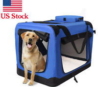 Hight Q Pet Portable Folding Soft Sided Dog Crate Kennels Blue 24*18*21""