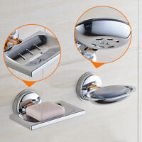 Strong Suction Bathroom Shower Chrome Accessory Soap Dish Holder Cup Tray