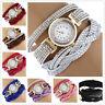 Bracelet Crystal Leather Dress Analog Quartz Wrist Watches Women Watch J0015