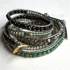 Metal Beads Silver Gray Leather Bracelet Nakamol 5 Wrap up Czech Crystal, Agate,