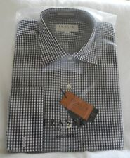 "FRASER ""CITY"" DOUBLE CUFF BLACK/WHITE CHECK COTTON SHIRT REG. FIT COLLAR 16""/41C"