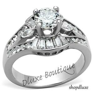 WOMEN'S ROUND CUT AAA CZ SILVER STAINLESS STEEL ENGAGEMENT WEDDING RING SZ 5-12