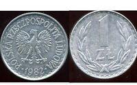 POLOGNE  1 zloty  1982  ( bis )
