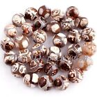 """12mm Brown Faceted Round Football Stripe Agate Gemstone Beads Spacer Strand 15"""""""