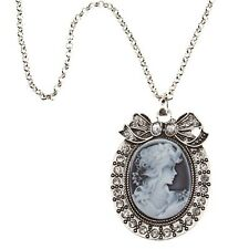 """30"""" Long Large Gray Cameo Clear Rhinestone Bow Silver Tone Pendant Necklace Gift"""