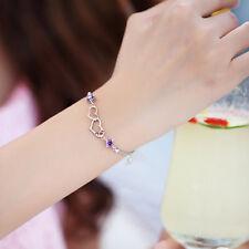 Korea Style Double Heart Design Bracelet Women Crystal Silver Chain KS